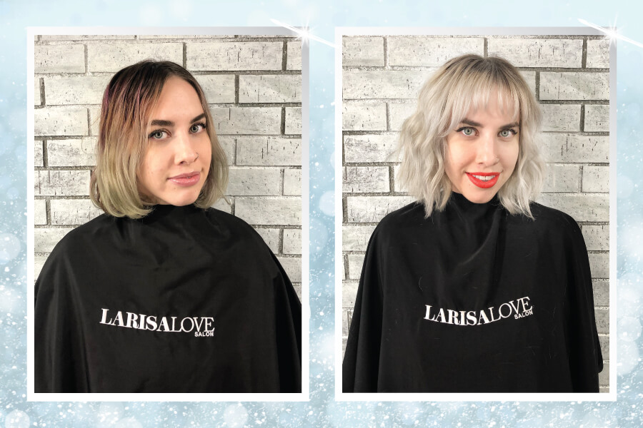 Blonde hair color and cut before and after
