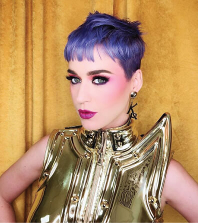Katy Perry Purple Hair Color and Pixie Cut