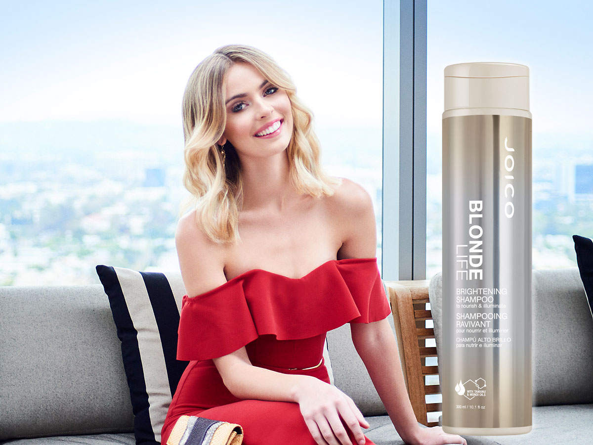 Blonde Life Shampoo model and product