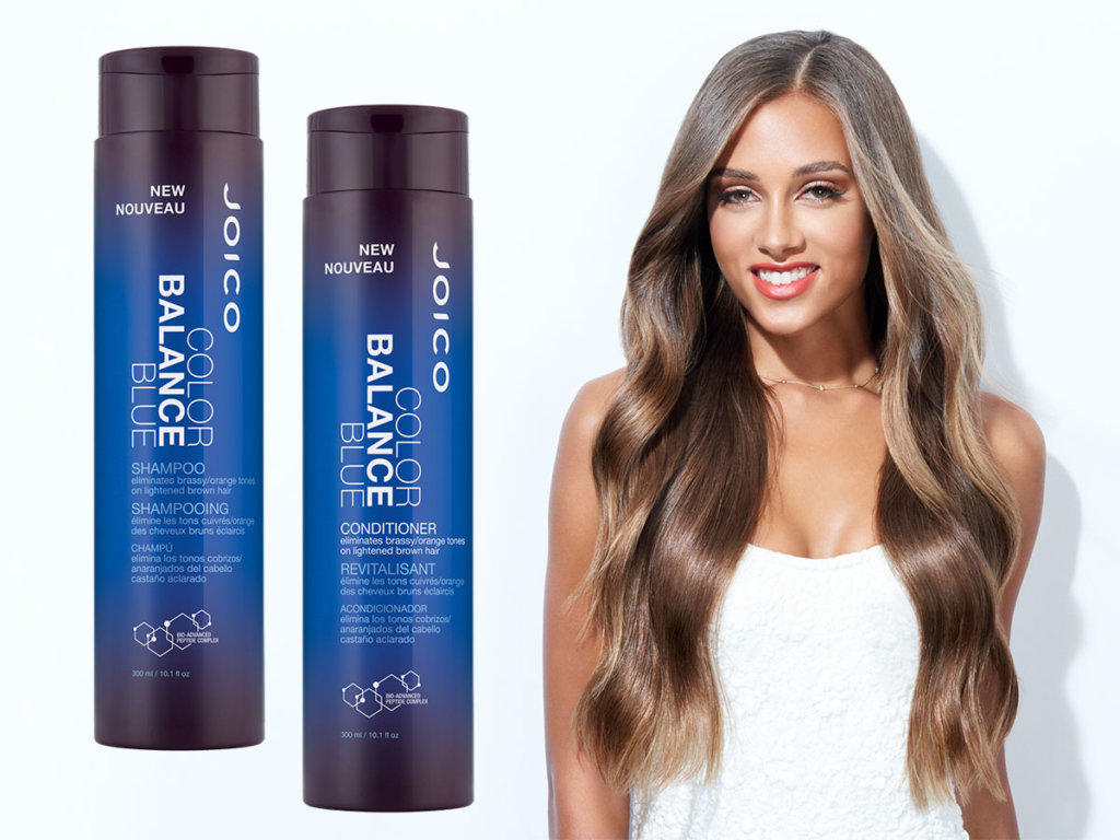Color Balance Blue shampoo and conditioner with model