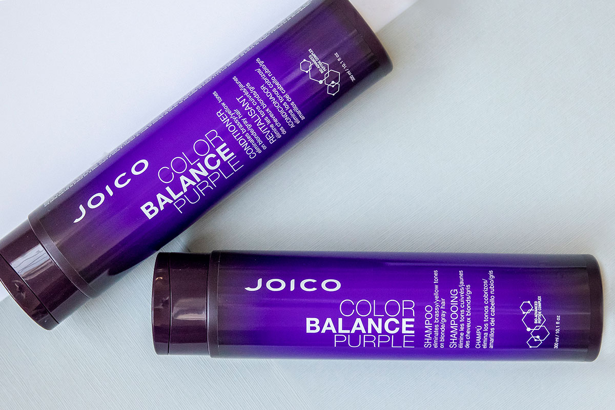 Color Balance Purple shampoo and conditioner bottles
