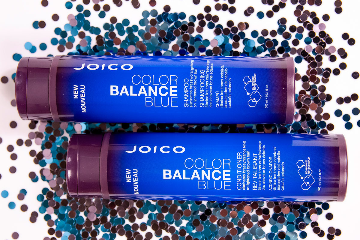 Color Balance Blue shampoo and conditioner bottle