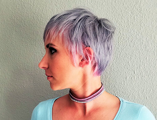 Natani Laas cut and color hairstyle on model