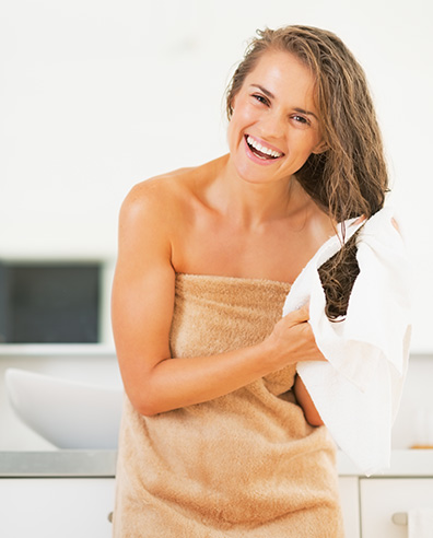 Beautiful Girl Towel Drying Wet Hair